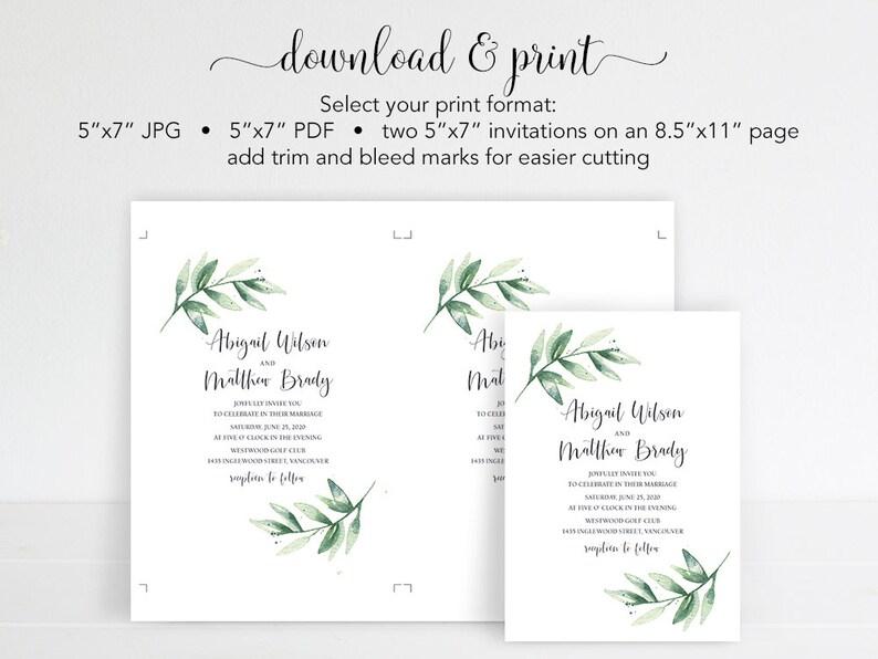 Digital Download Minimalist Wedding Invitation Template Greenery Wedding Invitation Set Simple Wedding Invite