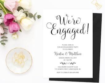 Engagement Invitation, Printable Engagement Party Invitation, Printable Engagement Party Invitation, We're Engaged, Engagement Party Invites