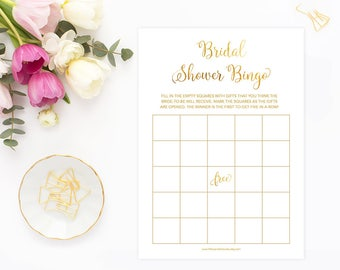 Bridal Shower Bingo, Gold Bridal Shower Bingo, Gold Foil Bridal Bingo, Bridal Shower Bingo Card, Printable Digital, GFBRS, INSTANT DOWNLOAD
