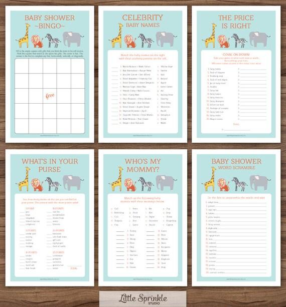 Safari-Baby-Dusche-Spiele Set Dschungeltiere / Zootiere sechs