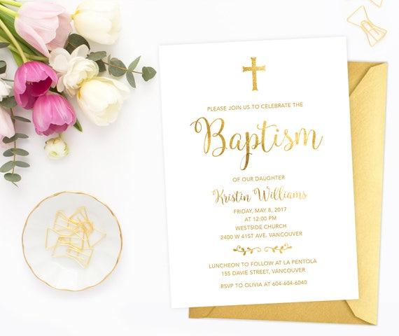 Faux Gold Foil Baptism Invitation White Gold Baptism Etsy
