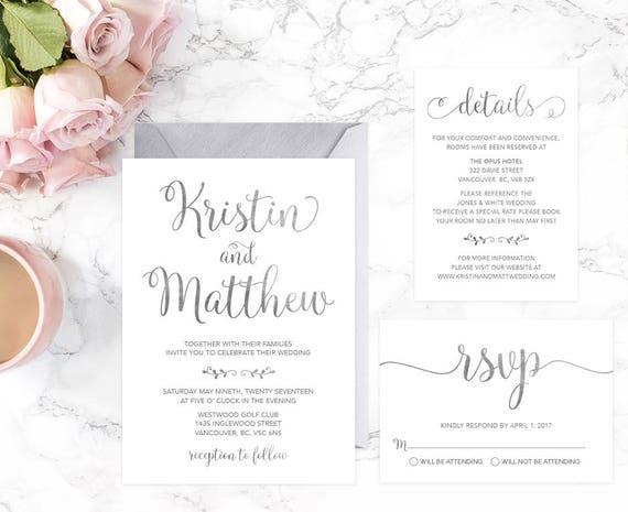 Modern Wedding Invitation Template Silver Wedding Invitation | Etsy