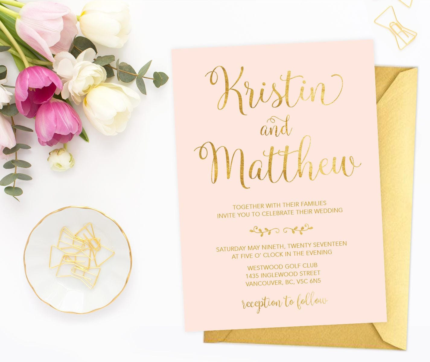 Pink Gold Wedding Invitation Printable Wedding Invitation Etsy
