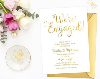 Gold Engagement Invitation, White and Gold Engagement Party Invitation, Printable Engagement Party Invite, Faux Gold Foil Invitation GFWF