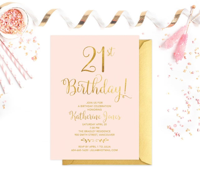 Pink Gold 21st Birthday Party Invitation Printable Adult Any Age