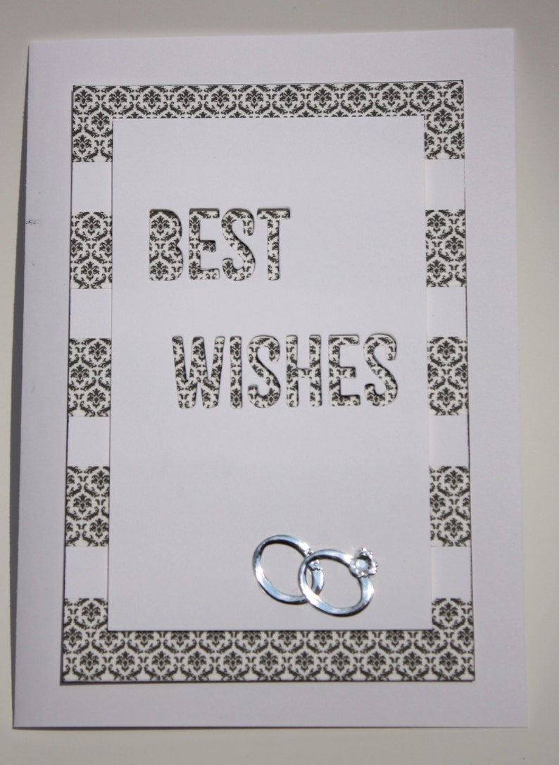 best wishes wedding card in black and white simple yet  etsy