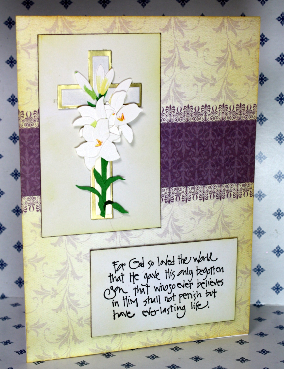 very beautiful easter greeting card in yellows and purples