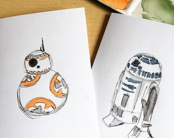 BB-8 and R2-D2 Watercolour Prints