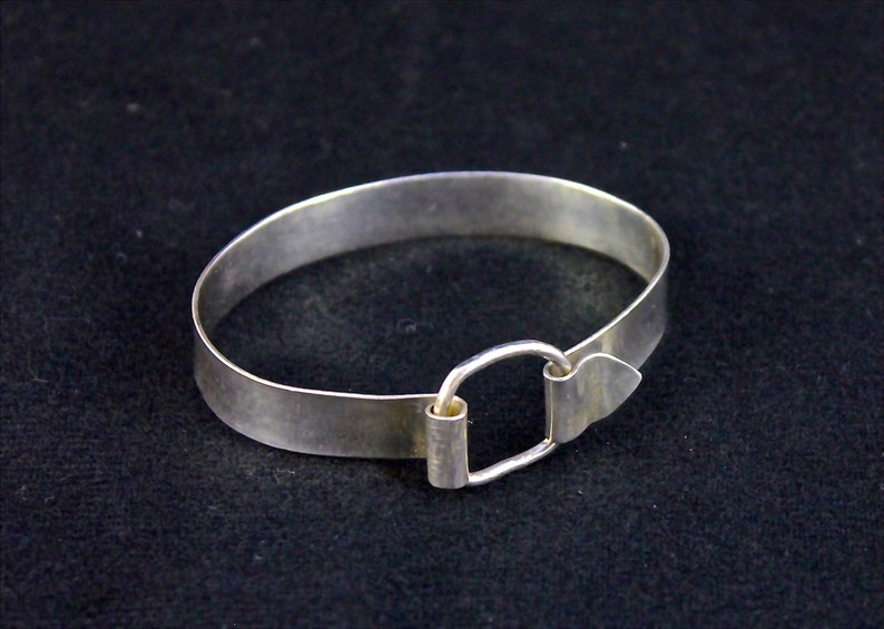 Sterling Silver Buckle Bangle with a Square Ring Closure Handmade Bracelet Silver Bangle Bracelet