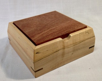 Handcrafted keepsake box with lift off lid, made from spalted silver maple and canafistula.