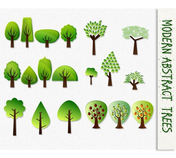 Modern Abstract Trees Clip Art Tree Graphics Trees Clipart Fruit Pear Apple Scrapbook Digital Instant Download Jpg Transparent Png Nature