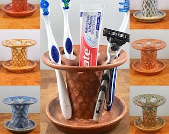 Razor Cup Toothbrush Cup Pottery Bathroom Decor Gloss White Handmade 9th Anniversary for Him Handmade Razor Stand