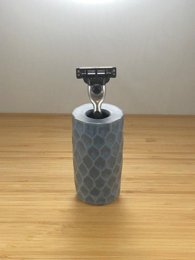 Razor Cup Bathroom Decor Wheel Thrown Pottery Razor Stand Capri Blue Handmade Toothbrush Holder 9th Anniversary for Him