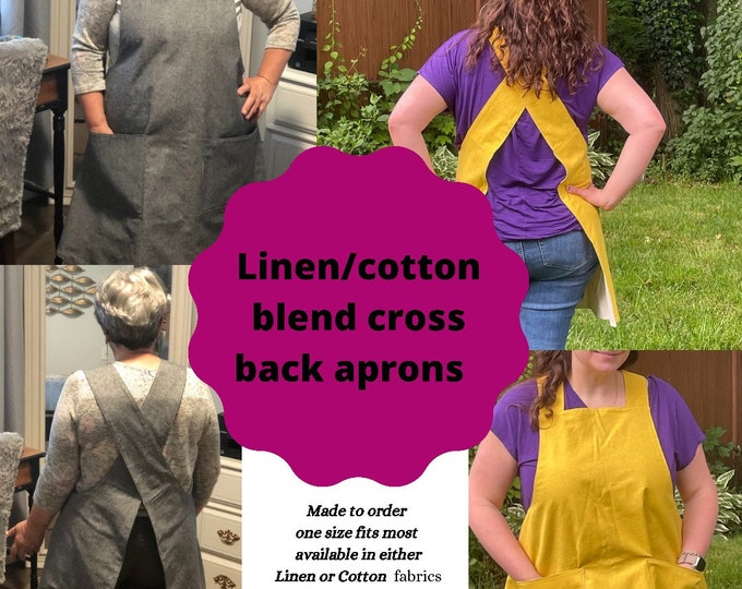 Featured listing image: Cross back Linen / Cotton Aprons