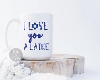 hanukkah gift funny sarcastic jewish coffee mug i love you a latke holiday christmas anniversary wedding present 15 oz coffee cup