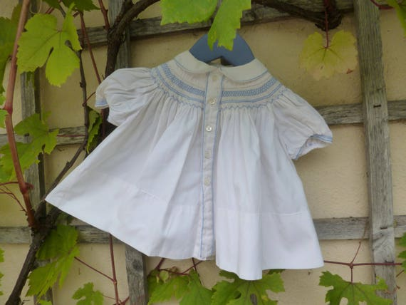 French Smocked Baby Dress Circa 1955