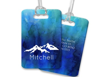 Mountain Luggage Tags Blue Watercolor Luggage Tag Customized Travel Tags Custom Bag Tags Suitcase Tags Custom Luggage Tags for Him Masculine