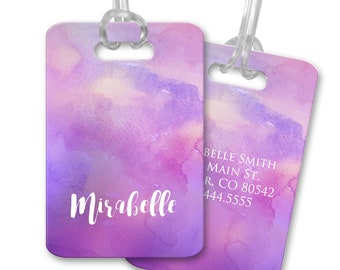 Personalized Luggage Tags Watercolor Luggage Tag Customized Travel Tags Custom Bag Tags Suitcase Tags Custom Luggage Tags Purple Watercolor