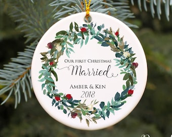 e8d1ad0b7d02 Our First Christmas Married Ornament Our First Christmas Ornament Wedding Christmas  Ornament Personalized Ornament Wedding Gift Idea Mr Mrs