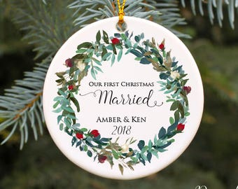 Our First Christmas Married Ornament Our First Christmas Ornament Wedding Christmas Ornament Personalized Ornament Wedding Gift Idea Mr Mrs