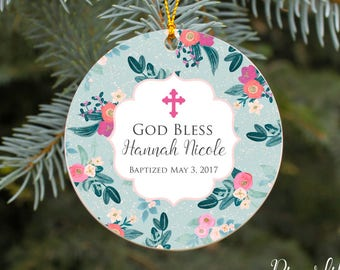 Baptism Ornament God Bless Baby Girl Personalized Gift Christmas Ornament Christening Ornament Girls Baptism Gift Custom Gift for Baptism