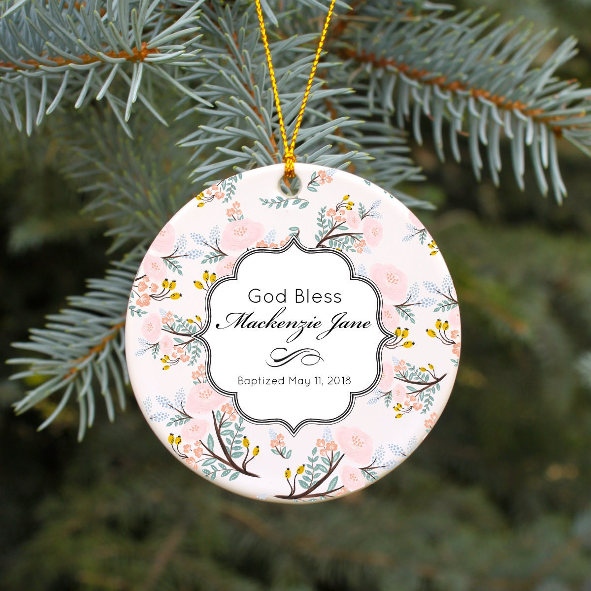 Baptism Christening Baby Metal Ornament: Baptism Ornament Christening Ornament God Bless Baby Girl