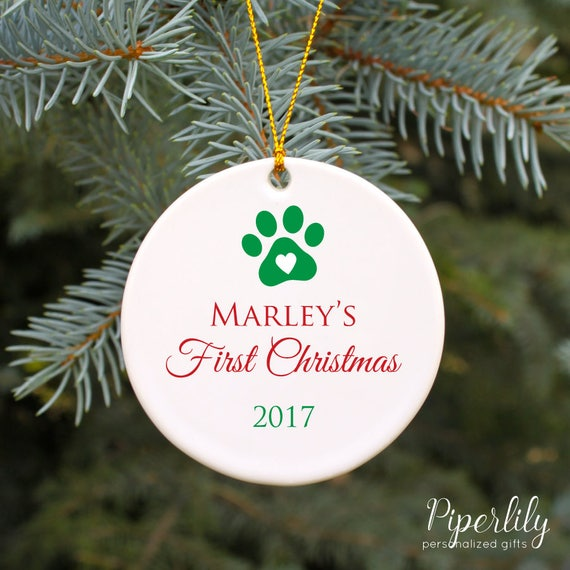 Dogs First Christmas Ornament.Dog S First Christmas Ornament Personalized Dog Gift Puppy S 1st Christmas Paw Print Ornament Customized Christmas Ornament Gift For New Pet