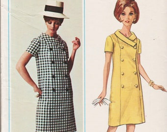 "1960s Mod Dress Pattern Double Breasted Button Front Dress BUTTERICK 4501 bust 35"" Rolled Collar Dress Straight Dress Short Sleeve Dress"