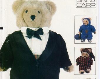 """23"""" Teddy Bear Outfits Teddy Bear Tuxedo Pattern Teddy Bear Pajamas Pattern VOGUE 9093 UNCUT Linda Carr Teddy Bear Sweatsuit Bear Sneakers"""