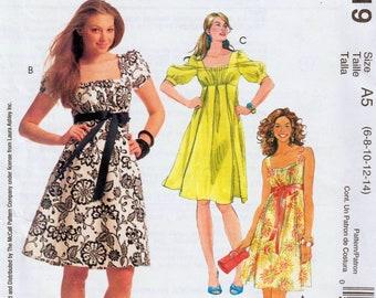 "Empire Waist Dress Laura Ashley Sundress Pattern Square Neckline Puff Sleeve Dress McCALLS M5619 UNCUT bust 30.5-36"" Designer Dress Pattern"