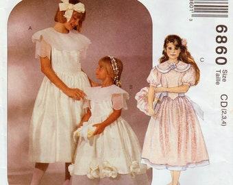 Flower Girl Dress Pattern Girls Formal Dress McCALLS 6860 UNCUT sz 2-4 or 4-6 Girls Holiday Dress First Communion Toddler Dress Sunday Dress
