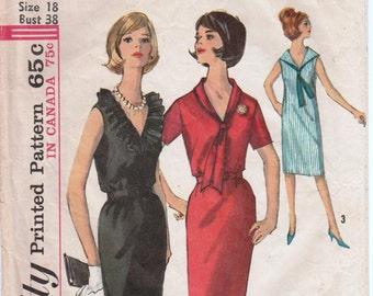 """Ruffled Collar Sailor Collar 1960s Dress Pattern SIMPLICITY 5513 bust 38"""" Tie Neck Dress Sailor Dress Sleeveless Dress Vintage Dress"""