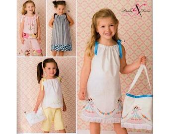 Pillowcase Dress Girls Sundress Pattern Girls Top and Pants Girls Crop Pants Girls Purse Pattern SIMPLICITY 2391 UNCUT size 3-8 Childs Dress