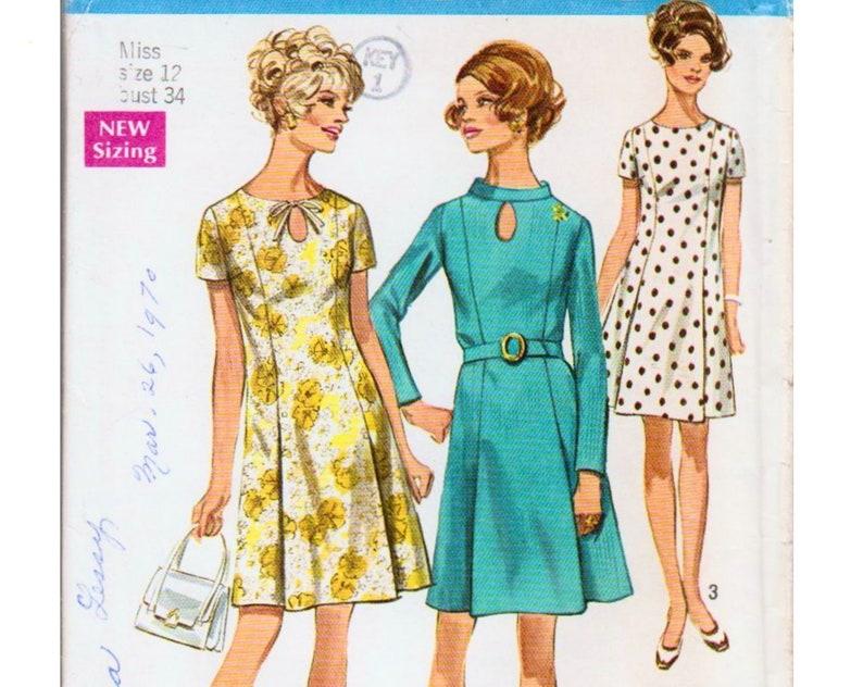 Keyhole Dress Princess Seam Dress 1960s Dress Pattern A line Dress Pattern SIMPLICITY 8192 UNCUT bust 34