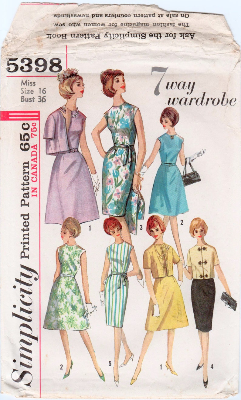5bd0c274f 1960s Dress and Jacket Sheath Dress Pattern Short Sleeve | Etsy