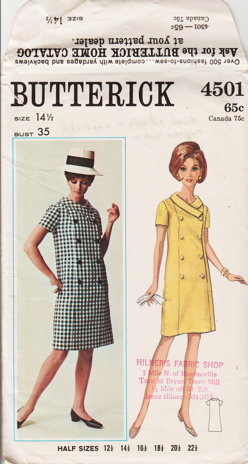 74dc293a621db 1960s Mod Dress Pattern Double Breasted Button Front Dress