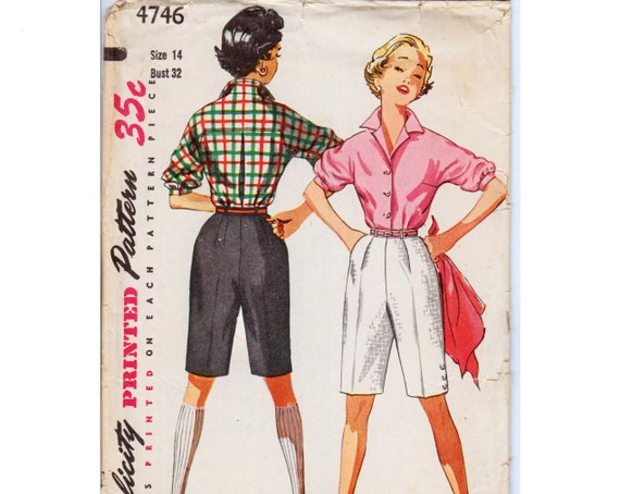 Vintage Shorts Long Shorts Pattern 60s Shirt Pattern Vintage Etsy Impressive High Waisted Shorts Pattern