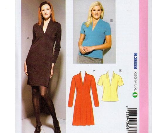 Knit Dress Pattern Deep V Neck Dress Draped Collar Kwik Sew Etsy