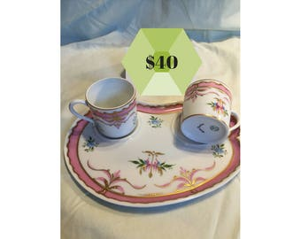 25% off!! Vintage Limoges marked hand-painted tea plate with two matching cups excellent condition