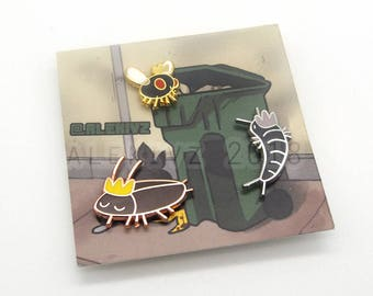 Tiny Bug Pins . Cockroach . Fly . Silverfish . 15mm & 25mm pins