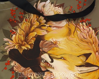 Floral Fox . Tote Bag . Reusable Grocery Market Bag .