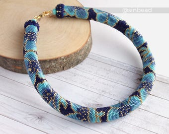 """Bead crochet necklace """"Blossoming"""" floral necklace bead crochet rope blue necklace"""