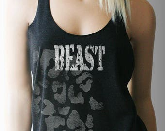 Beast Workout Tank. Workout Shirt. Workout Clothes. Exercise Clothing. Weight Lifting Shirt. Fitness Tank. BEAST. Womens Workout Tank.