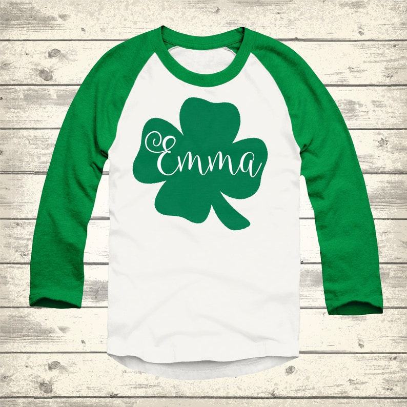 5db09fcf607e5 Clover St Patricks Day Raglan Personalized St Patricks Day