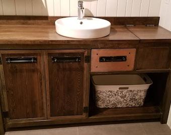 weathered gray reclaimed wood bathroom vanity