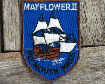 LAST ONE! Mayflower II Plymouth Massachusetts Vintage Souvenir Travel Patch from Voyager