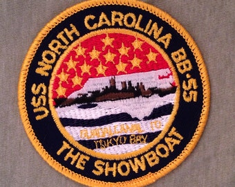 Last One! USS North Carolina BB-55 The Showboat Vintage Souvenir Travel Patch from Voyager