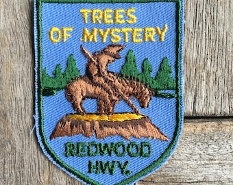 Tres of Mystery Redwood Highway Vintage Travel Souvenir Patch from Voyager