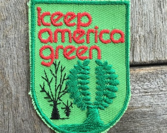 Keep America Green Vintage Souvenir Novelty Patch from Voyager - New in Original Package