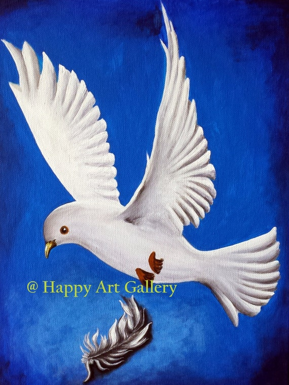 White Pigeon Bird Of Peace Abstract White Pigeon Original Etsy